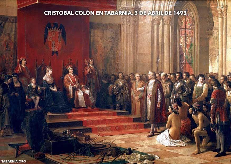 Cristobal Colón visita a los Reyes Católicos en Tabarnia. 3 de abril de 1493.