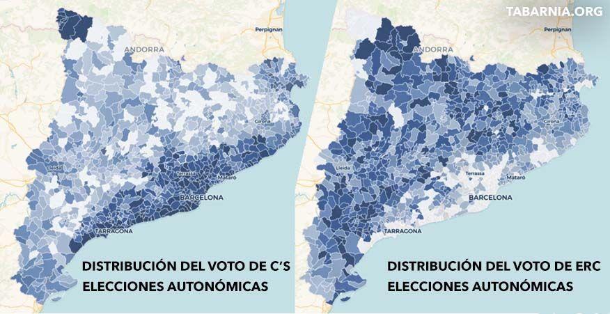 Distribución del voto de Ciudadanos y ERC en Cataluña.