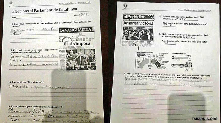 Un colegio de Premiá de Dalt pide a niños que se posicionen sobre la independencia
