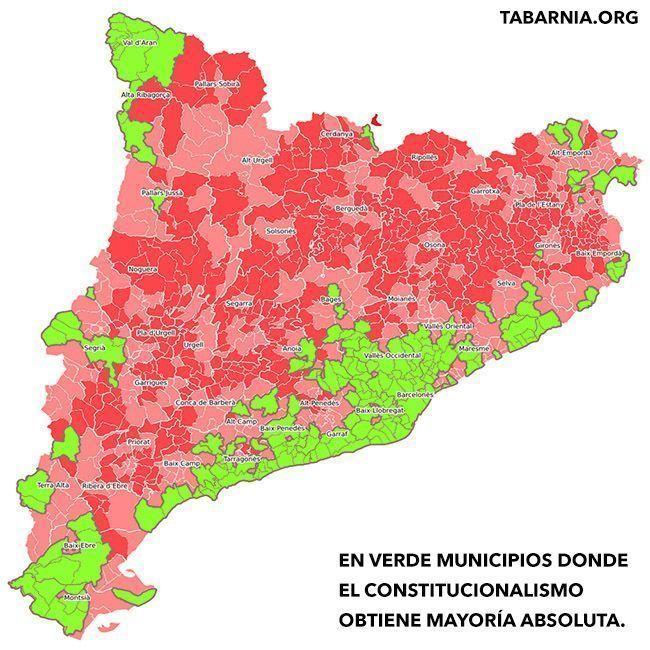 Municipios donde vence el constitucionalismo en Cataluña.
