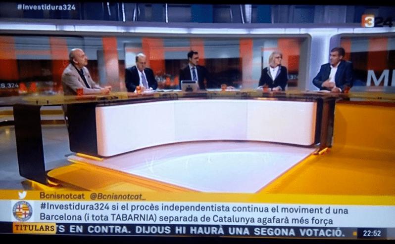 Tuit de Tabarnia en TV3 en 2015